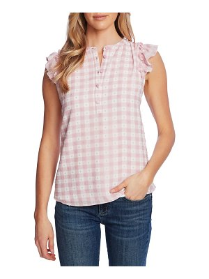 CeCe by Cynthia Steffe ruffle sleeve gingham clip dot blouse
