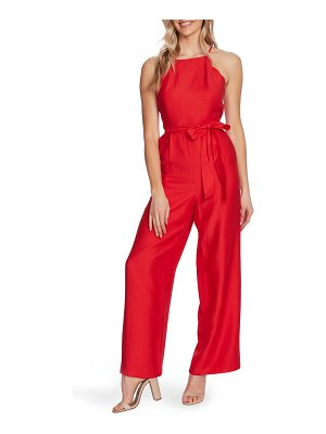 CeCe by Cynthia Steffe scalloped halter neck jumpsuit