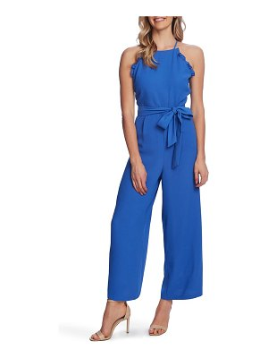 CeCe by Cynthia Steffe sleeveless belted ruffle jumpsuit