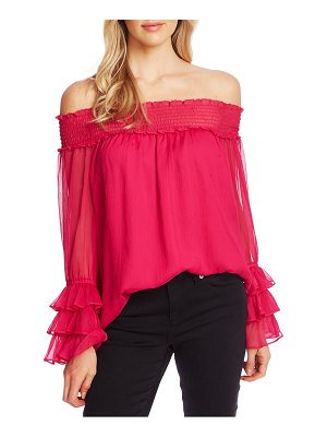 CeCe by Cynthia Steffe smocked off the shoulder blouse