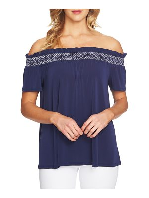 CeCe by Cynthia Steffe smocked off the shoulder crepe top