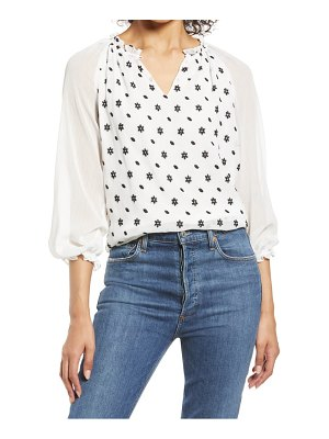 CeCe by Cynthia Steffe split neck floral embroidered blouse