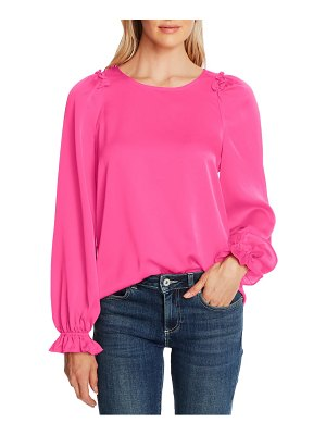 CeCe by Cynthia Steffe textured satin long puff sleeve blouse
