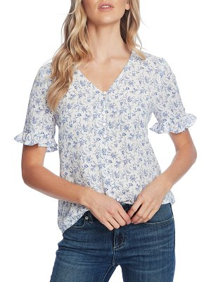 CeCe by Cynthia Steffe toile vines ruffle sleeve blouse