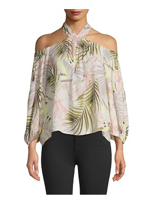 CeCe by Cynthia Steffe Tropical-Print Cold-Shoulder Top