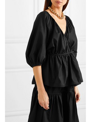 Cecilie Bahnsen aina ruffled cotton-poplin wrap blouse