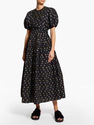 Cecilie Bahnsen anna wrap bodice floral jacquard cotton midi dress