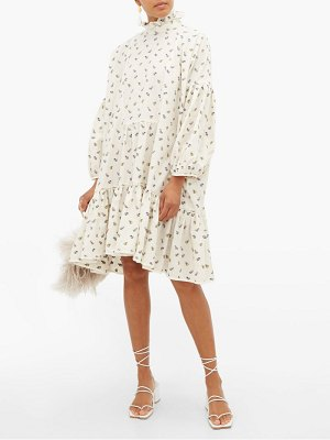 Cecilie Bahnsen belle floral jacquard tiered cotton dress