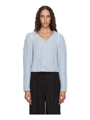 Cecilie Bahnsen blue wool and alpaca cable knit milo cardigan