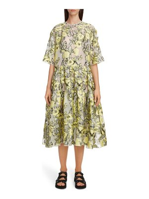 Cecilie Bahnsen elliemay floral jacquard tiered midi dress