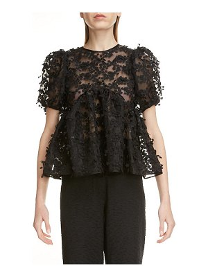 Cecilie Bahnsen floral embroidered open back blouse