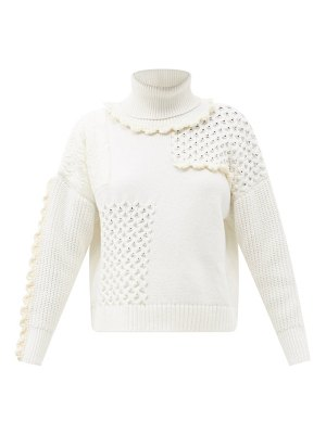 Cecilie Bahnsen franki ruffled patchwork cotton roll-neck sweater