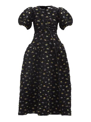 Cecilie Bahnsen haiden floral-embroidered smocked taffeta dress