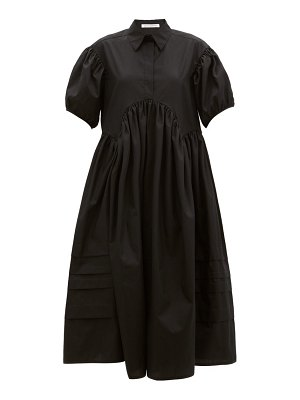 Cecilie Bahnsen margo pintucked cotton-poplin midi shirt dress