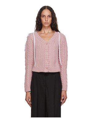 Cecilie Bahnsen pink wool and alpaca cable knit milo cardigan