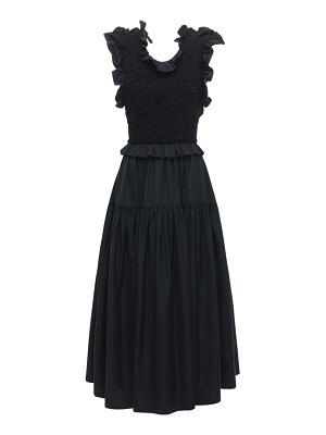 Cecilie Bahnsen Ruffled midi dress w/ open back
