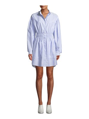 Cedric Charlier Button-Front Long-Sleeve Smocked-Waist Striped Shirtdress