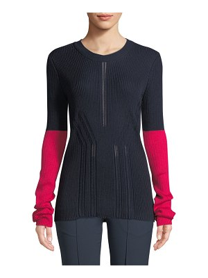 Cedric Charlier Crewneck Long-Sleeve Colorblock Pointelle-Knit Sweater