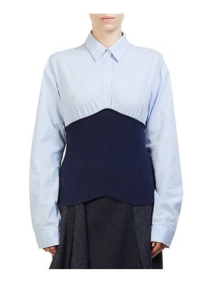 Cedric Charlier knit combo blouse