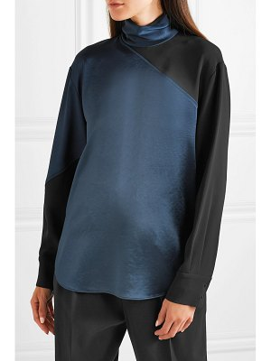 CÉDRIC CHARLIER paneled two-tone satin and crepe turtleneck top