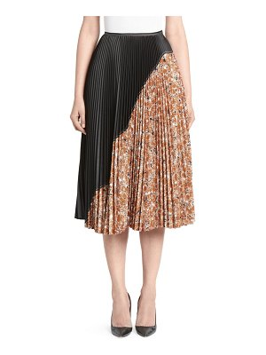 CÉDRIC CHARLIER pleated floral colorblock skirt