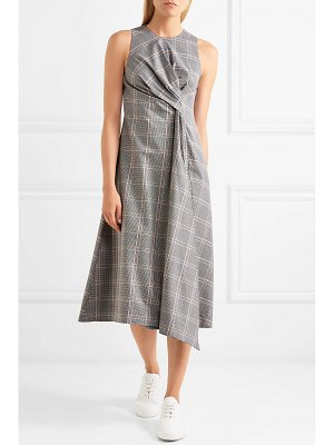 CÉDRIC CHARLIER twisted prince of wales checked wool-blend midi dress