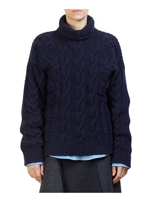 Cedric Charlier wool cable-knit turtleneck sweater