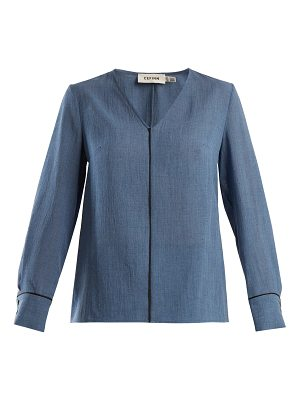 CEFINN Contrast-piped V-neck voile blouse