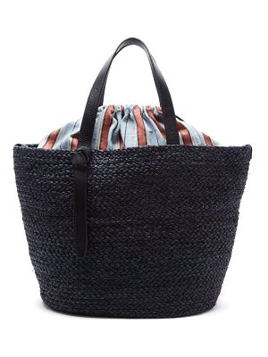 Cesta Collective large woven sisal and striped cotton basket bag