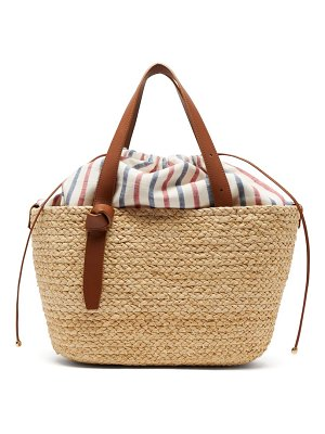 Cesta Collective woven sisal and striped cotton basket bag