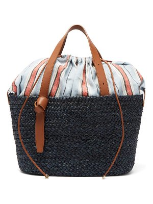Cesta Collective woven sisal, leather and cotton basket bag