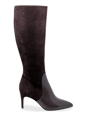 Charles David Pinstripe Stretch Suede-Leather Boots