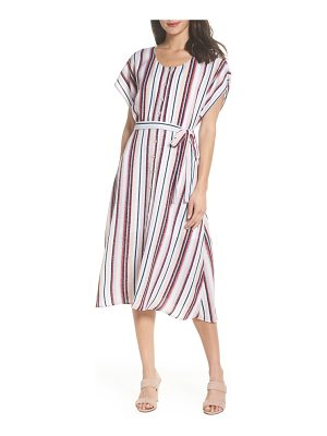 Charles Henry belted button down midi dress