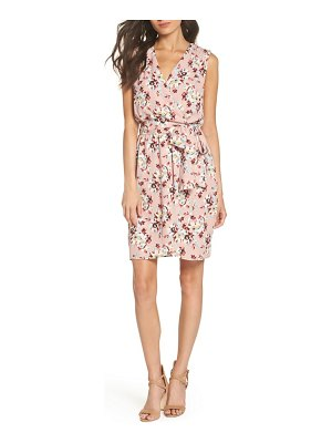 Charles Henry floral faux wrap dress