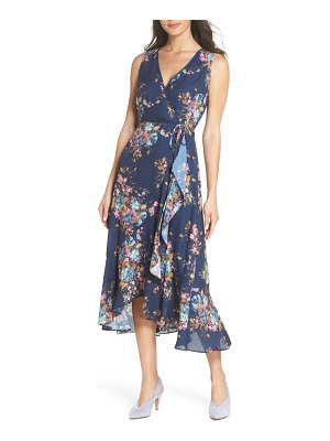 Charles Henry floral sleeveless wrap dress