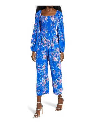 Charles Henry floral smocked long sleeve jumpsuit