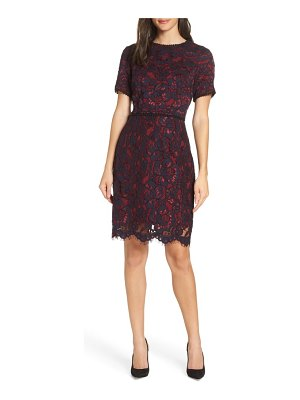 Charles Henry lace sheath dress