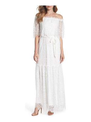 Charles Henry off the shoulder popover maxi dress