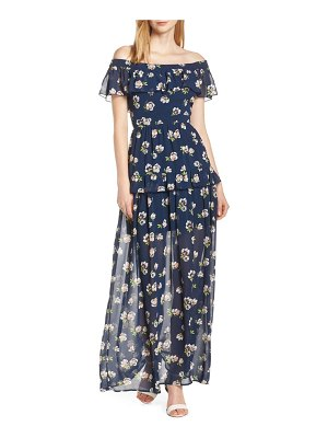 Charles Henry off the shoulder ruffle maxi dress