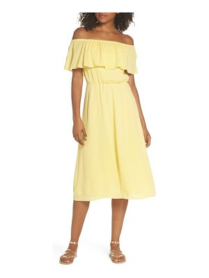 Charles Henry off the shoulder ruffle midi dress
