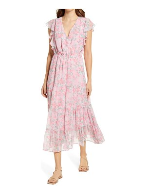 Charles Henry ruffle sleeve floral faux wrap dress