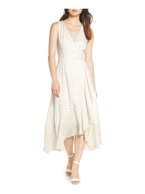Charles Henry sleeveless gingham wrap dress