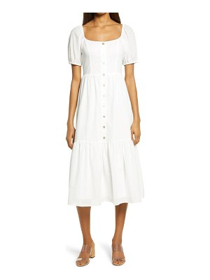 Charles Henry smocked back button front midi