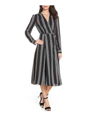 Charles Henry stripe tie waist midi dress