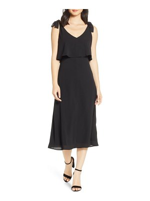 Charles Henry tie shoulder popover midi dress