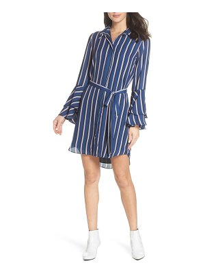Charles Henry tiered bell sleeve shirtdress