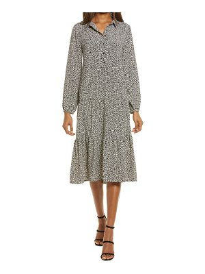Charles Henry tiered long sleeve midi shirtdress