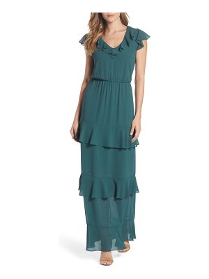 Charles Henry tiered ruffle maxi dress