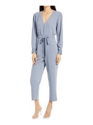 Charles Henry v-neck long sleeve tie waist jumpsuit
