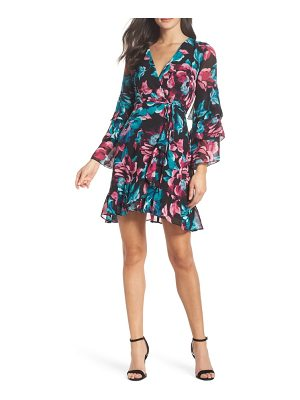 Charles Henry wrap tiered sleeve dress